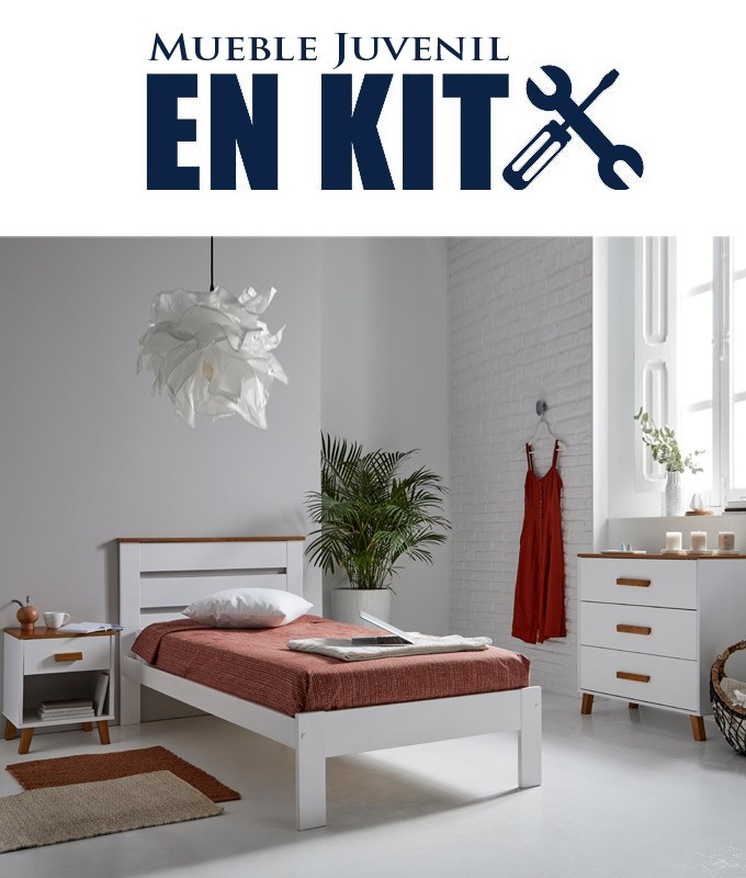 Dormitorio Juvenil fabricado en madera de pino con cama individual, mesita y cómoda Ref TA06