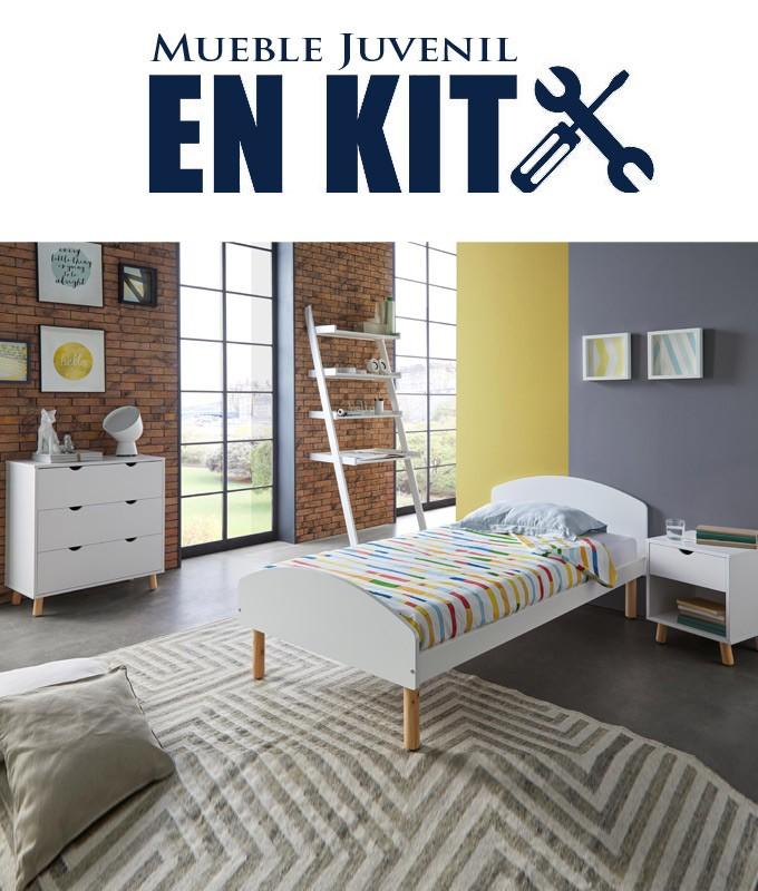 Dormitorio Juvenil fabricado en madera de pino con cama individual, mesita, cómoda y estantería Ref TA11