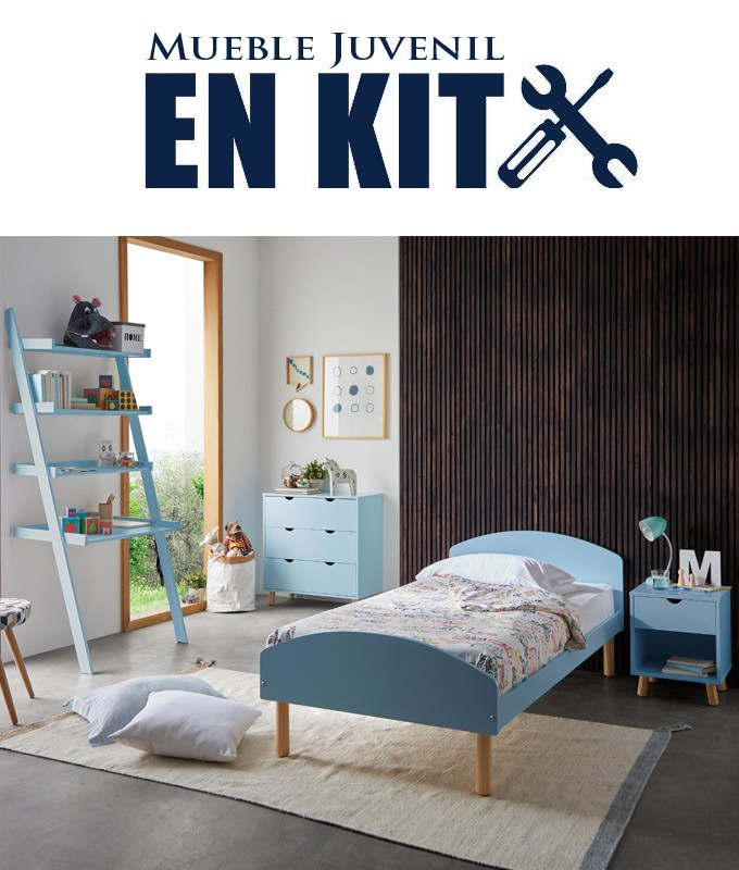 Dormitorio Juvenil fabricado en madera de pino con cama individual, mesita, cómoda y estantería Ref TA12