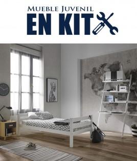 Dormitorio Juvenil fabricado en madera de pino con cama, mesita y estanterías Ref TA15