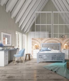 Dormitorio de matrimonio fabricado en madera y acabado lacado compuesto por cama, mesitas, escritorio y espejo Ref JI58