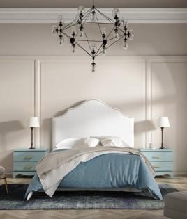 Dormitorio de matrimonio fabricado en madera y acabado lacado compuesto por cabecero tapizado y mesitas Ref JI59
