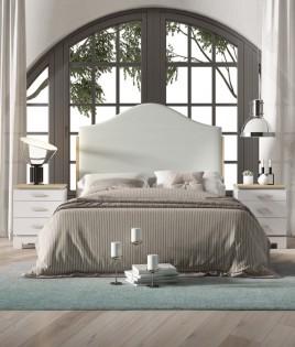 Dormitorio de matrimonio fabricado en madera y acabado lacado compuesto por cabecero tapizado y mesitas Ref JI60