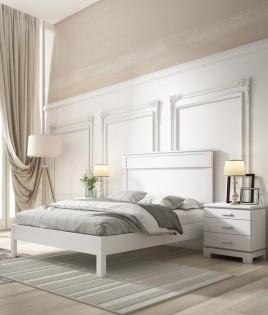 Dormitorio de matrimonio fabricado en madera y acabado lacado compuesto por cama y mesitas Ref JI62