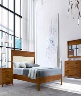 Dormitorio de matrimonio fabricado en madera y acabado lacado compuesto por cama, mesitas y comodín Ref JI63