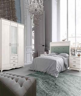 Dormitorio de matrimonio fabricado en madera y acabado lacado compuesto por cabecero, mesitas y armario Ref JI64