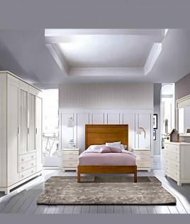 Dormitorio de matrimonio fabricado en madera y acabado lacado compuesto por cama, mesitas, armario y comodín con espejo Ref JI65