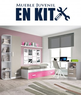 Dormitorio Juvenil con cama nido, armario y escritorio con cajonera Ref EB01