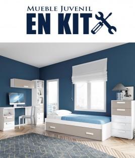 Dormitorio Juvenil con cama nido, estantería, xifonier y escritorio con cajonera Ref EB02