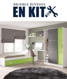 Dormitorio Juvenil con cama nido, armario puertas correderas, zapatero y escritorio Ref EB03