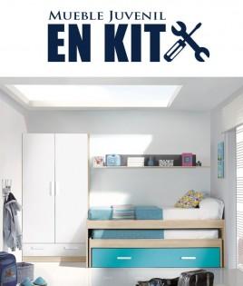 Dormitorio Juvenil con cama compacta, armario 2 puertas y estante Ref EB04