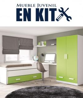 Dormitorio Juvenil con cama compacta, armario 2 puertas, zapatero y escritorio Ref EB06
