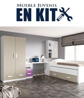 Dormitorio Juvenil con cama compacta, armario 2 puertas, zapatero y escritorio Ref EB07