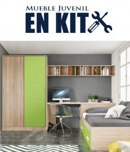 Dormitorio Juvenil con cama nido, armario puertas correderas, zapatero y escritorio Ref EB08