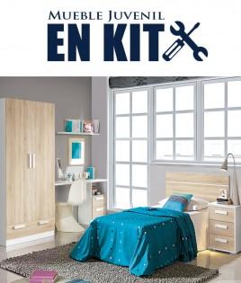 Dormitorio Juvenil con cabezal de 90 cm, mesita, armario 2 puertas y escritorio Ref EB09