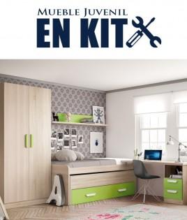 Dormitorio Juvenil con cama compacta, armario 2 puertas y escritorio Ref ET01