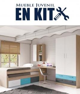 Dormitorio Juvenil con cama compacta, armario 2 puertas, zapatero y escritorio Ref ET02