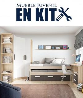 Dormitorio Juvenil con cama compacta, armario rincón, zapatero y escritorio Ref ET03