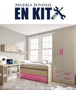 Dormitorio Juvenil con cama compacta, armario 2 puertas y escritorio Ref ET06
