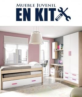 Dormitorio Juvenil con cama compacta, armario 2 puertas y escritorio Ref ET07