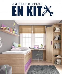 Dormitorio Juvenil con cama compacta, armario rincón, zapatero y escritorio Ref ET09