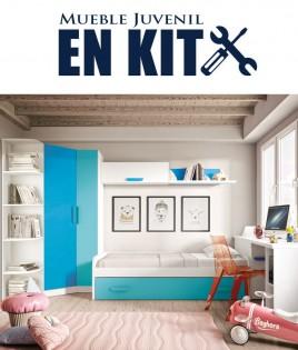 Dormitorio Juvenil con cama nido, armario rincón, zapatero y escritorio Ref ET10