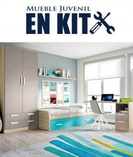 Dormitorio Juvenil con cama nido, armario y escritorio Ref ET12