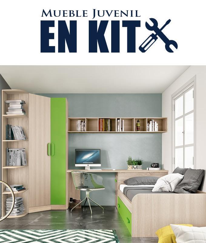 Dormitorio Juvenil con cama nido, armario rincón, zapatero y escritorio Ref ET13