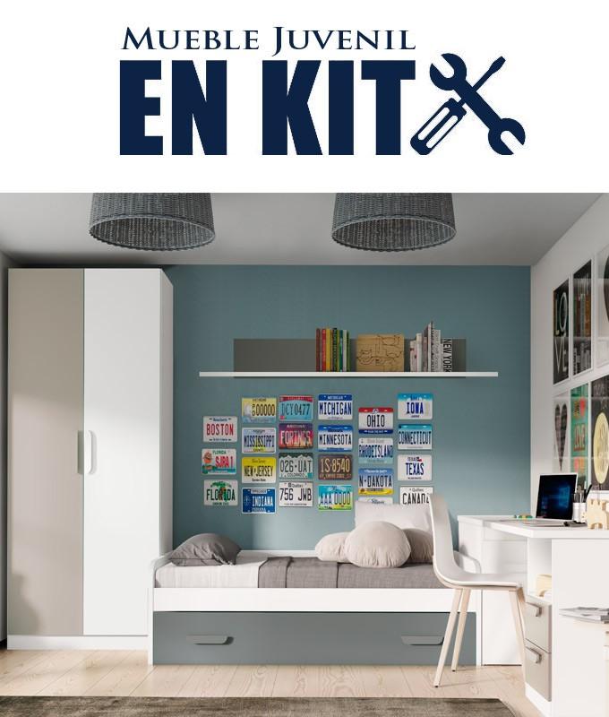 Dormitorio Juvenil con cama nido, armario, arcón y escritorio Ref ET14