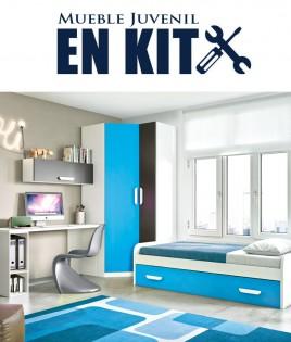 Dormitorio Juvenil con cama nido, armario rincón y escritorio Ref ET15