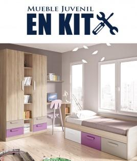 Dormitorio Juvenil con cama, armario con estantería central y escritorio Ref ET17