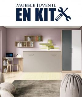 Dormitorio Juvenil con cama abatible, armario y escritorio Ref ET18