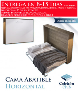Cama Abatible Horizontal disponible en diferentes medidas y colores Ref N12000