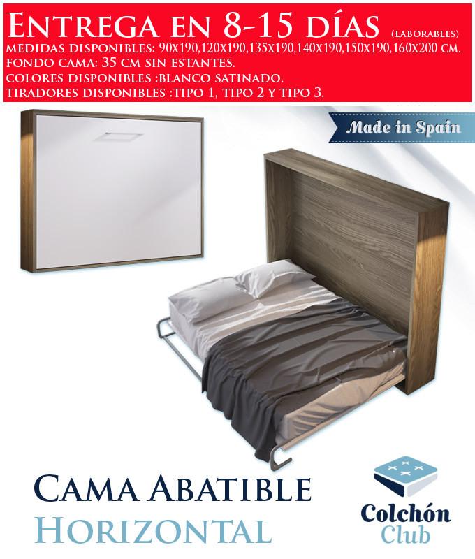 Cama Abatible Horizontal disponible en diferentes medidas y colores Ref N12000