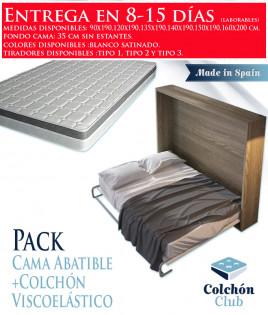 Pack Cama Abatible Horizontal y Colchón Viscoelastico Ref N23000