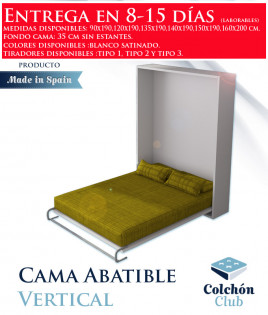 Cama Abatible Vertical disponible en diferentes medidas y colores Ref N13000