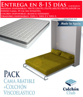Pack Cama Abatible Vertical y Colchón Viscoelasticos Ref N24000