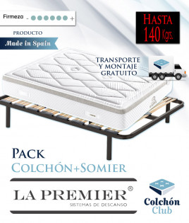 Pack La Premier Colchón de muelles ensacados Extrafirmes y somier multiláminas Ref LP6000