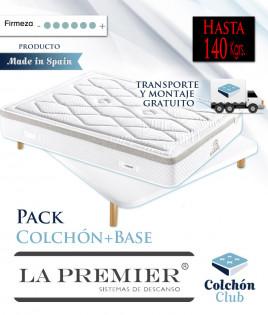 Pack La Premier Colchón de muelles ensacados Extrafirmes y Base Tapizada 3D Ref LP7000