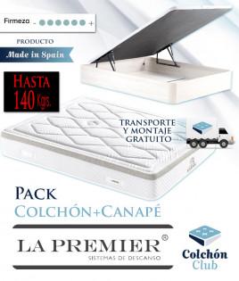 Pack La Premier Colchón modelo Karma de muelles ensacados Extrafirmes y Canapé madera Ref LP8000