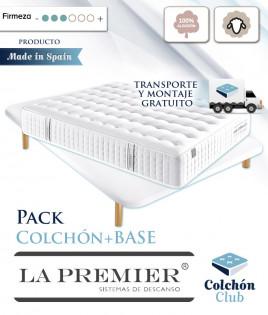 Pack La Premier de muelles ensacados cara de Verano algodón, Invierno en Lana y somier multiláminas Ref LP10000