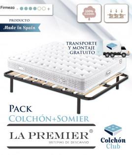Pack La Premier Colchón con Núcleo HR, Nano Muelles y Algodón y Somier Multiláminas Ref LP14000