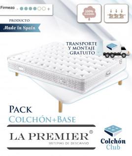 Pack La Premier Colchón con Núcleo HR, Nano Muelles y Algodón y Base Tapizada 3D Ref LP15000