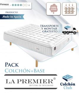 Pack La Premier Colchón de muelles ensacados con Topper y Base Tapizada 3D Ref LP19000