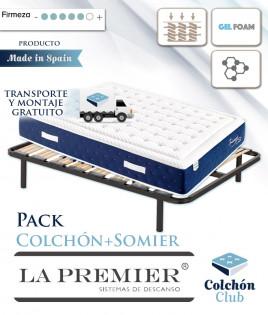 Pack La Premier Colchón de Muelles ensacados con Viscografeno y Gel Foam y somier multiláminas Ref LP22000