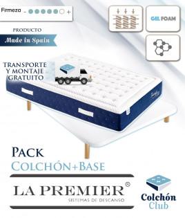 Pack La Premier Colchón de Muelles ensacados con Viscografeno y Gel Foam y Base Tapizada 3D Ref LP23000