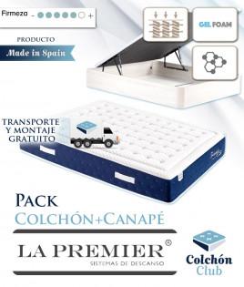 Pack La Premier Colchón de Muelles ensacados con Viscografeno y Gel Foam y Canapé madera Ref LP24000