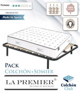 Pack La Premier de muelles ensacados cara de Verano algodón, Invierno en Lana y somier multiláminas Ref LP26000