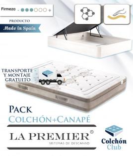Pack La Premier Colchón Viscoelástico con Viscografeno y Canapé madera Ref LP32000