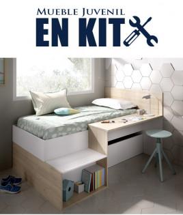 Dormitorio Juvenil con cama compacta, contenedores de almacenaje y escritorio Ref YK01